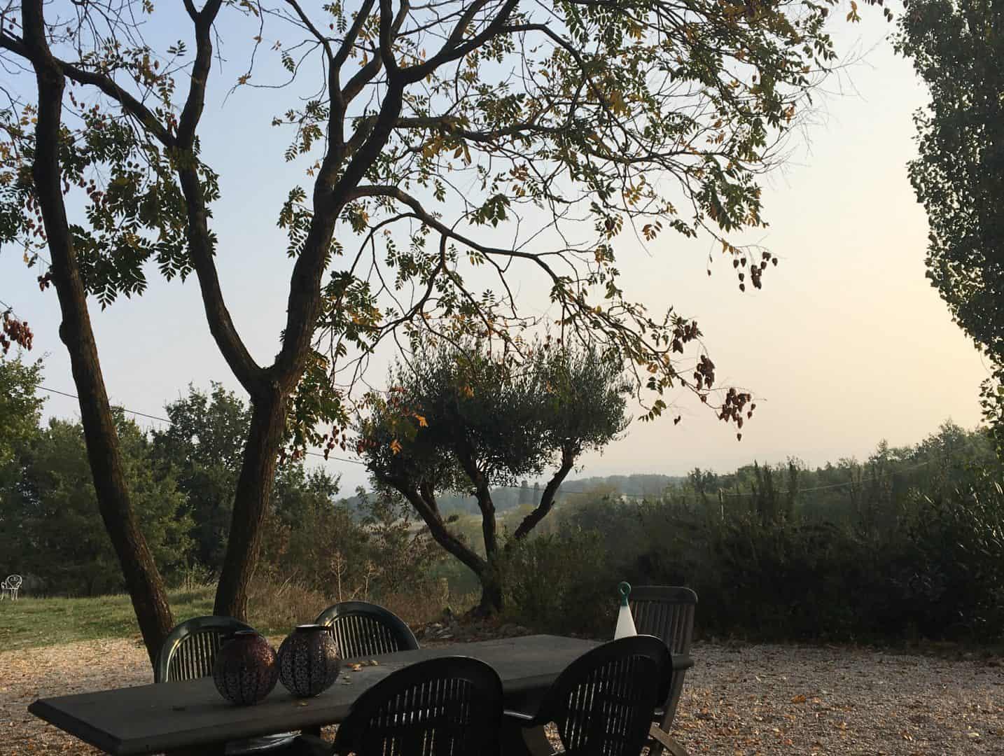 Uitzicht terras Auberge